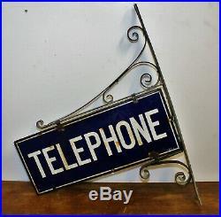 Telephone enamel sign decor advertising mancave garage metal vintage retro kitch