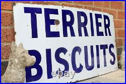 Terrier biscuits Spratt's patent london Enamel Sign Early Vintage, Pets Dog Food