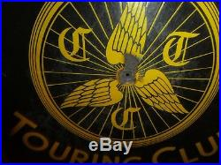 The Cyclists Touring Club Sign Vintage circa 1910 enamel bikes cycling