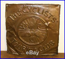 The Cyclists Touring Club advertising copper sign vintage cycle bicycle enamel