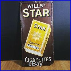The Wills Star Sign. Antique Vintage Advertising Enamel Sign Rare