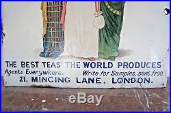United Kingdom Tea Company'3 Ladies' Original Vintage Enamel Sign V. Rare