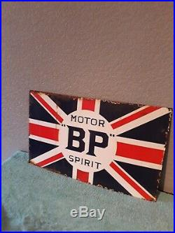 VINTAGE AUTOMOBILIA BP MOTOR SPIRIT UNION JACK ENAMEL SIGN 50 by 30cm