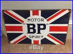 VINTAGE BP MOTOR SPIRIT Union Jack ENAMEL SIGN Automobilia British Petroleum