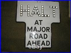 VINTAGE Enamel HALT Road Sign