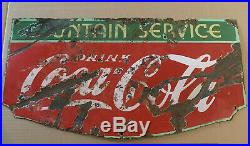 VINTAGE PORCELAIN DRINK COCA COLA FOUNTAIN SERVICE ENAMEL SIGN Makers Mark 1930s