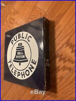 VINTAGE Public Telephone Bell System Sign Porcelain Enamel