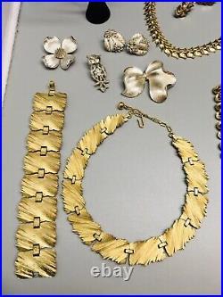 VTG ALL Signed Trifari Jewelry Lot Brooch Necklace Bracelet Pearl Enamel Sets