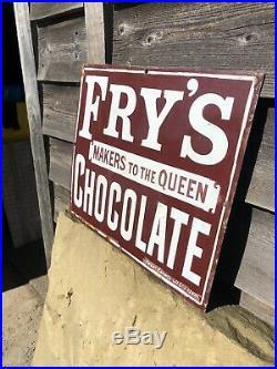 Very RARE ORIGINAL Fry's Chocolate Enamel Sign Vintage