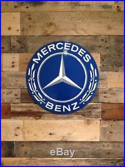 Very Rare Large Vintage Mercedes Benz Dealership Show Room Metal Enamel Sign
