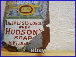 Very Rare Vintage Antique Small Hudson's Soap Enamel Wall Sign / Fingerplate