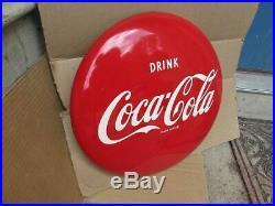 Vintage 16 inch Enamel Paint Coke Coca Cola Button Bottle Sign SO CLEAN