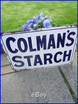 Vintage 1912 Colman's Starch Enamel metal Sign in very nice clean condition