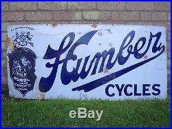 Vintage 1920's Humber cycles enamel sign