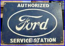 Vintage 1930's Old Antique Rare Ford Parts Porcelain Enamel Sign, Collectible
