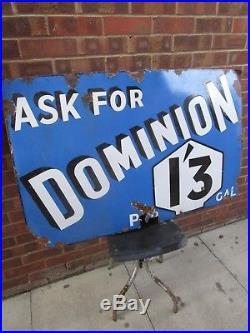 Vintage 1930s Ask For Dominion Petrol Garage forecourt Enamel metal Sign 4ft
