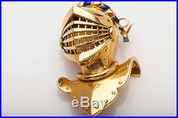 Vintage 1940s UTI Signed Enamel KNIGHT SOLDIER 18k Gold WATCH PIN PENDANT 22g