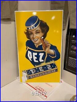 Vintage 1955 Pez Peppermint Porcelain Enamel Sign 23 X 14 3/4, 5.9 Pounds