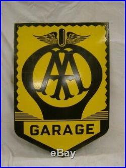 Vintage AA Metal Enamel Advertising Garage Sign