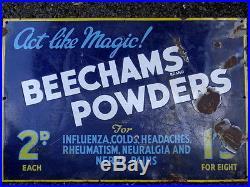 Vintage Advertising Enamel Sign, Beechams Powders Act Like Magic