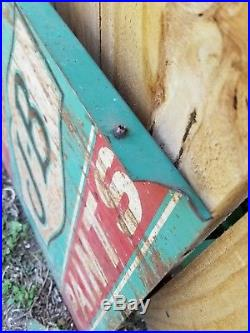 Vintage Antique Enamel Advertising Sign Double Sided J-B PAINTS Rusty