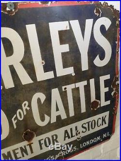 Vintage Antique Large Advertising Enamel Metal Sign Thorley food Cattle 32x27