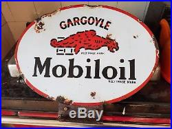 Vintage Automobilia Mobiloil Oil Cabinet Enamel Sign Fuel Garage Workshop