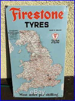 Vintage Automobilia -firestone Tyres Enamel Sign 73 X 123 CM