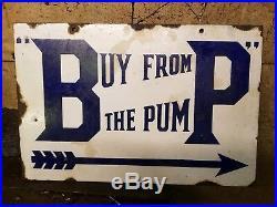 Vintage BP Buy From Pump Enamel Sign Advertising Garage Automobilia Motoring