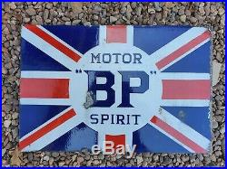 Vintage BP Union Flag Enamel Sign Motor Spirit Vintage Automobilia Garage Oil