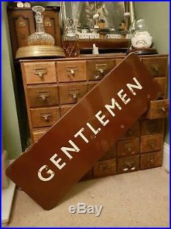 Vintage BR British Rail Gentlemen Large Enamel Sign Study Man Cave Shop Display