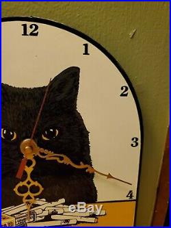Vintage Black Cat Virginia Cigarettes Porcelain Enamel Advertising Sign Clock
