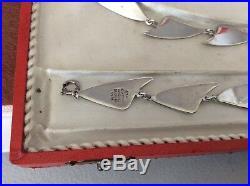 Vintage Brd. B Bjorklund Denmark Sterling 925S Enamel Parure Boxed Set Signed