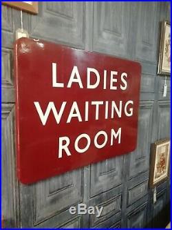 Vintage British Railways Maroon Enamel Ladies Waiting Room Sign