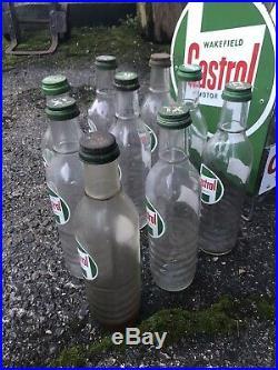 Vintage Castrol Oil Bottle Crate Enamel Sign Automobilia 8 Castrol Bottles