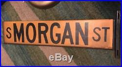 Vintage Chicago ILL Porcelain Enamel Street Sign South Morgan Street 1920s/1930s