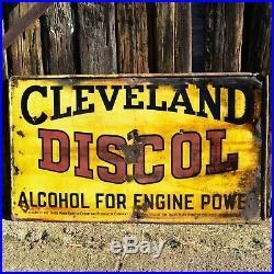 Vintage Cleveland Discol Engine Power Enamel Large Sign Automotive Petrol
