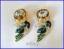 Vintage Coro Emerald & Enamel Duette Ca 1938 Book Piece Signed Brooch 3.0 X1.75