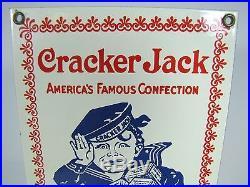 Vintage Cracker Jack Sign porcelain enamel The More You Eat The More You Want