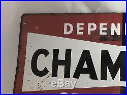 Vintage Dependable Champion Spark Plug Service Enamel Sign