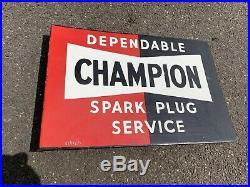 Vintage Dependable Champion Spark Plug Service Metal Enamel Advertising Sign