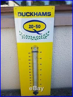 Vintage Duckhams Enamel Thermometer Sign