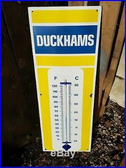 Vintage Duckhams Oil Enamel Sign Thermometer. Motor Automobilia Garage Workshop