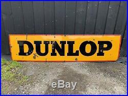 Vintage Dunlop Tire Tyre Sign Enamel Porcellian Automotive Garage