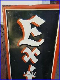 Vintage EXIDE BATTERIES Metal Sign 1949 Enamel Gas Oil Display 48 x 15.5