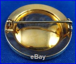 Vintage Enamel 14k Yellow Gold Pin Brooch with Very Old Miner Cut Diamonds Signed