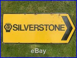 Vintage Enamel Aa Sign Silverstone Automobilia Petrol Oil Can Tin Bottle