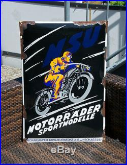 Vintage Enamel Automobile Wall Sign / Plaque # Nsu Motorcycles Germany