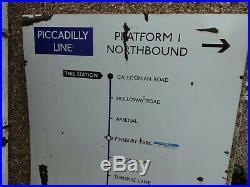 Vintage Enamel London Underground Sign Piccadilly Line Arsenal Station