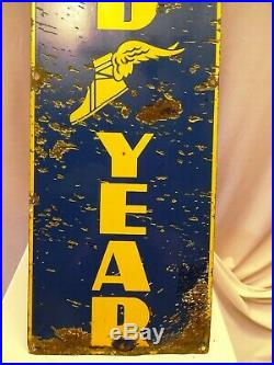 Vintage Enamel Porcelain Sign Good Year Tire Advertising Shop Display Rare Old